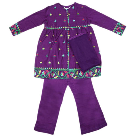 Girls Embroidered Cotton Suit 3 Pcs - Purple