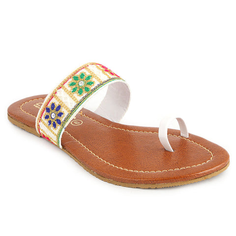 Women's Embroidery Slipper (SA-012) - White - test-store-for-chase-value