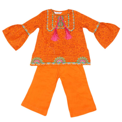 Girls Embroidered Cotton Suit 2 Pcs - Orange