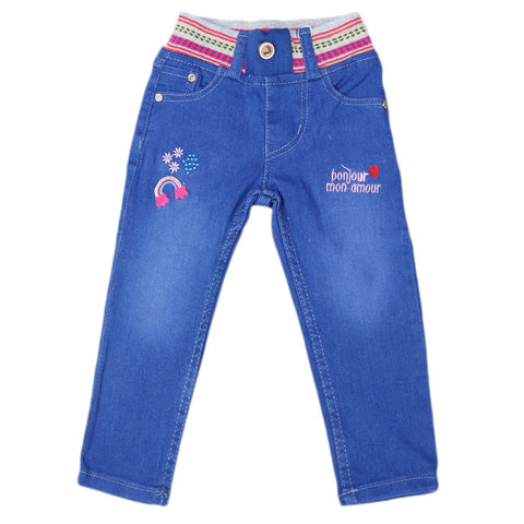Girls Denim Embroidered Pant - Royal Blue