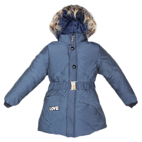 Girls Full Sleeves Jacket - Navy Blue