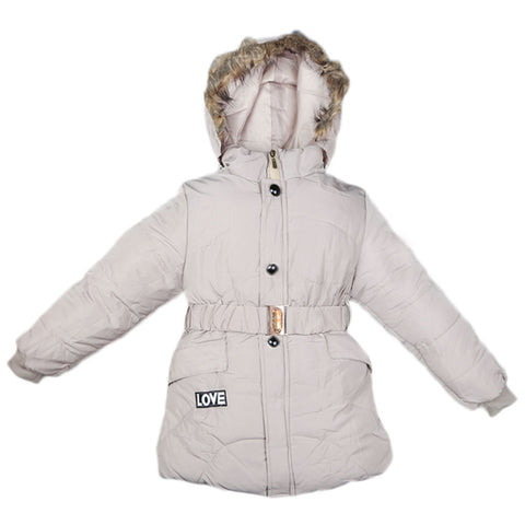Girls Full Sleeves Jacket - Beige