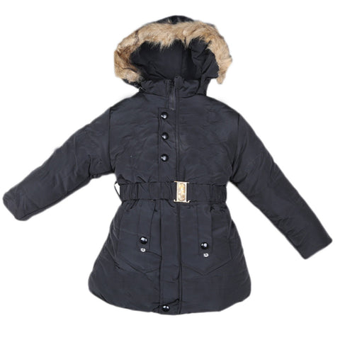 Girls Full Sleeves Jacket - Black