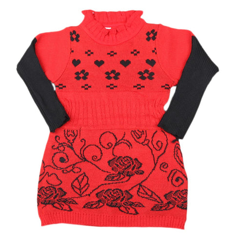 Girls Full Sleeves Sweater - Red