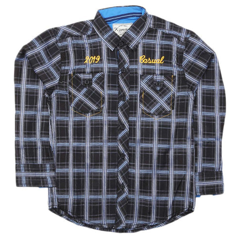 Boys Full Sleeves Casual Shirt - Navy Blue