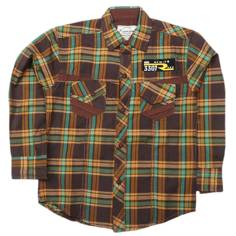 Boys Full Sleeves Casual Shirt - Brown