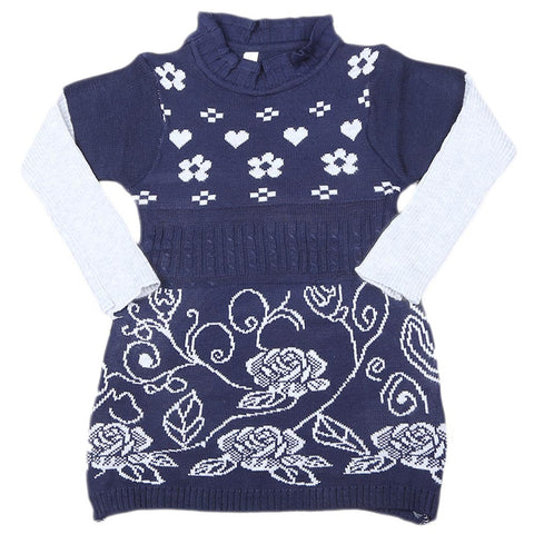 Girls Full Sleeves Sweater - Navy Blue