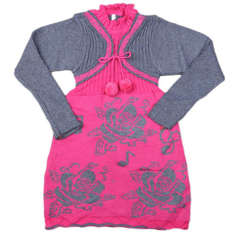 Girls Full Sleeves Sweater - Pink