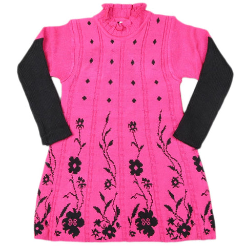 Girls Full Sleeves Sweater - Dark Pink