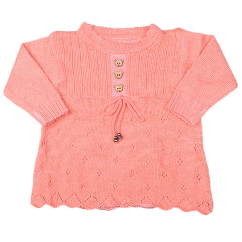 Girls Full Sleeves Sweater - Orange