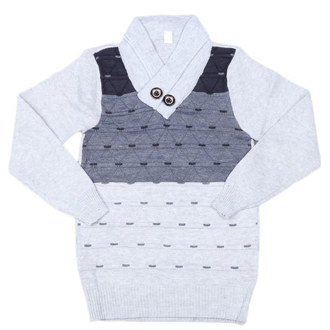 Boys Full Sleeves Sweater - Light Grey