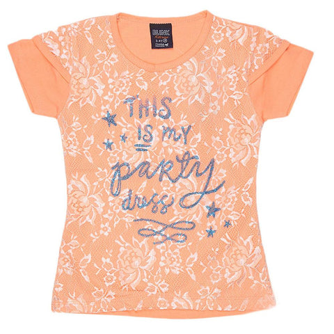 Girls Half Sleeve Glitter T-Shirt - Peach - test-store-for-chase-value