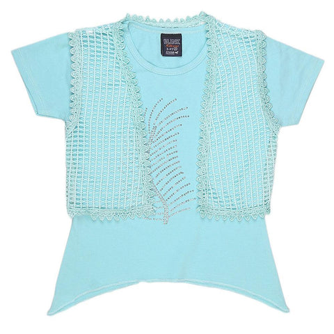 Girls Half Sleeve Fancy T-Shirt - Cyan - test-store-for-chase-value