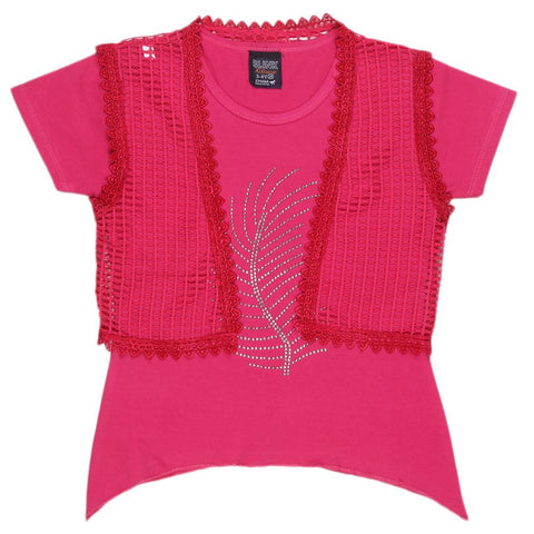 Girls Half Sleeve Fancy T-Shirt - Dark Pink - test-store-for-chase-value