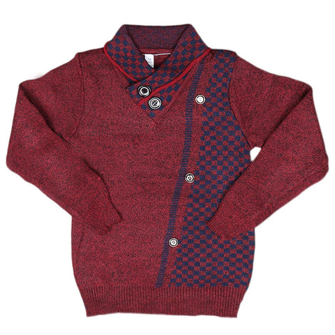 Boys Full Sleeves Sweater - Maroon