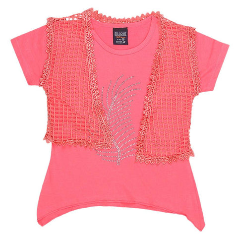 Girls Half Sleeve Fancy T-Shirt - Pink - test-store-for-chase-value