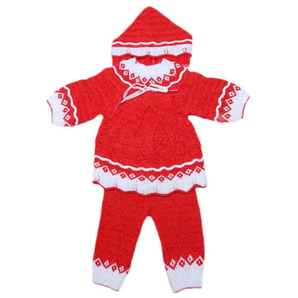 Newborn Irani Girls Suit 3 Pcs - Red