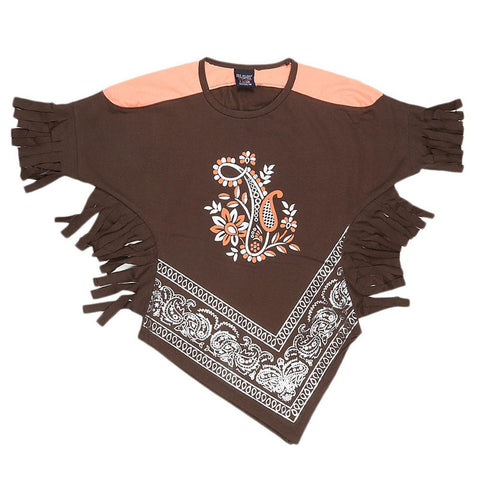 Girls Half Sleeve Printed T-Shirt - Brown - test-store-for-chase-value