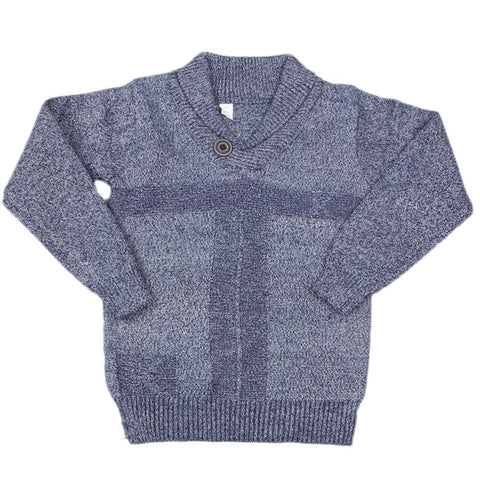 Boys Full Sleeves Sweater - Steel Blue