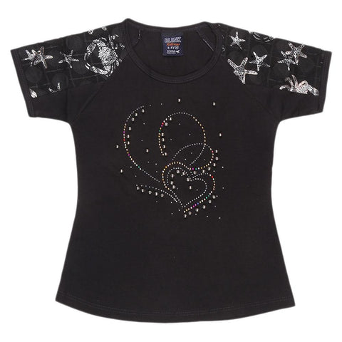 Girls Half Sleeve Fancy T-Shirt - Black - test-store-for-chase-value