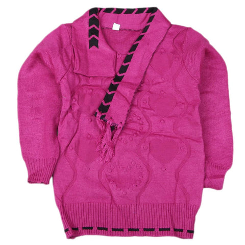 Girls Full Sleeves Sweater - Purple