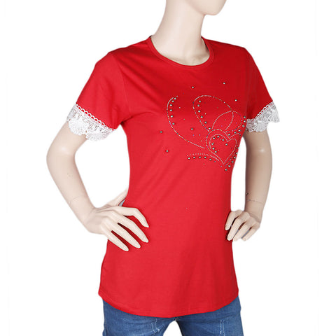 Women's Half Sleeve Stone T-Shirt - Red - test-store-for-chase-value