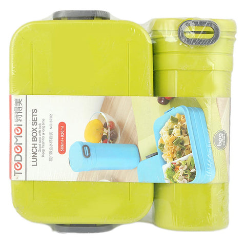 Homeo Lunch Box With Water Bottle (6702) - Green
