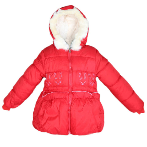 Girls Full Sleeves Jacket - Red