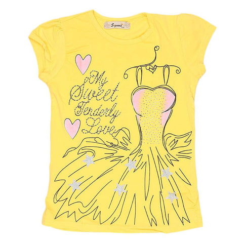 Girls Half Sleeve Fancy T-Shirt - Yellow - test-store-for-chase-value