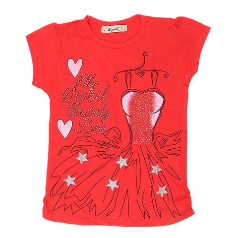 Girls Half Sleeve Fancy T-Shirt - Red - test-store-for-chase-value