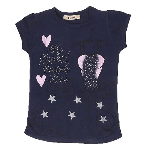 Girls Half Sleeve Fancy T-Shirt - Navy Blue - test-store-for-chase-value