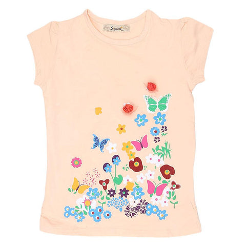 Girls Half Sleeve Fancy T-Shirt - Peach - test-store-for-chase-value