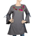 Women's Stripe Embroidered Kurti With Cut Sleeve - Dark Grey