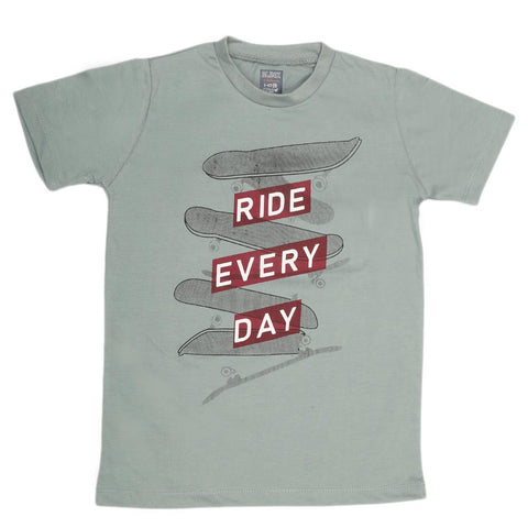 Boys Print T-Shirt - Grey