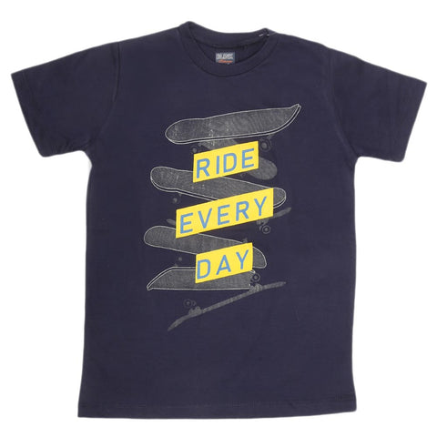 Boys Print T-Shirt - Navy Blue