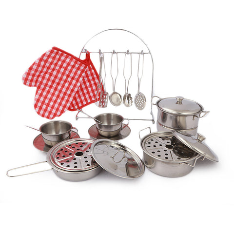 Metal Kitchen Set For Kids - Silver