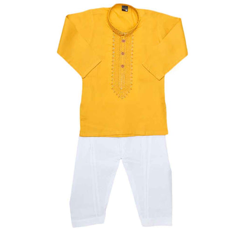 Boys Embroidered Kurta Shalwar Suit - Yellow