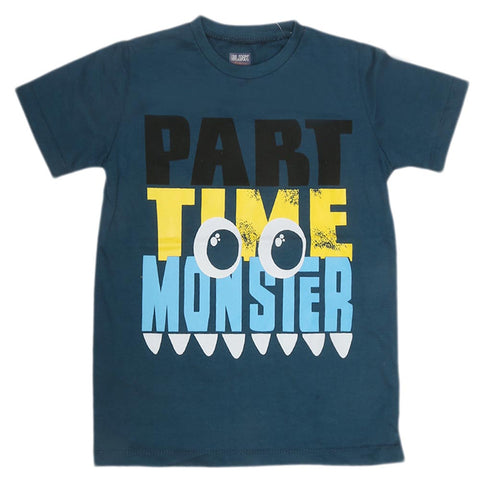 Boys Print T-Shirt - Mid Blue