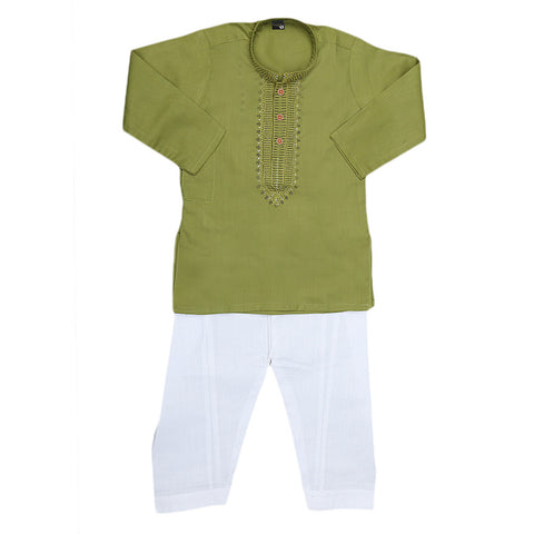 Boys Embroidered Kurta Shalwar Suit - Green