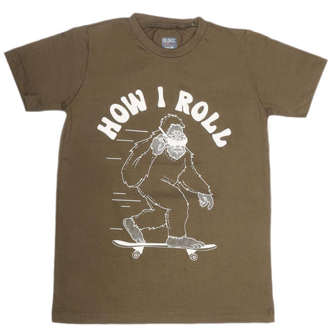 Boys Print T-Shirt - Dark Green