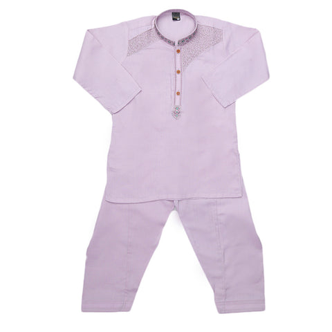Boys Embroidered Kurta Shalwar Suit - Purple