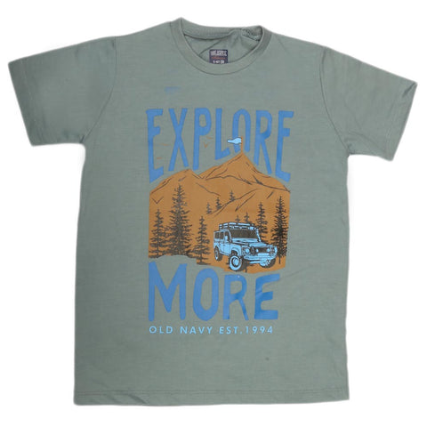 Boys Print T-Shirt - Steel Blue