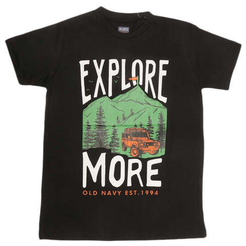 Boys Print T-Shirt - Black