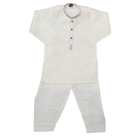 Boys Embroidered Kurta Shalwar Suit - Fawn
