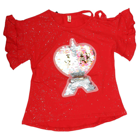 Girls Fancy T-Shirt - Red