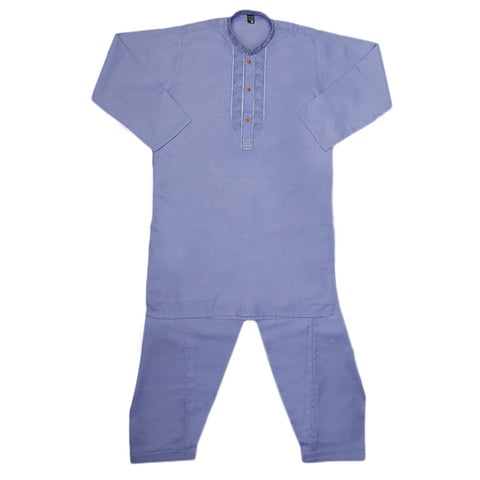 Boys Embroidered Kurta Shalwar Suit - Light Purple