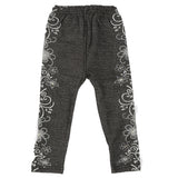 Girls Denim Print Tight - Black