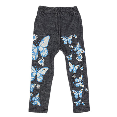 Girls Denim Print Tight - Blue