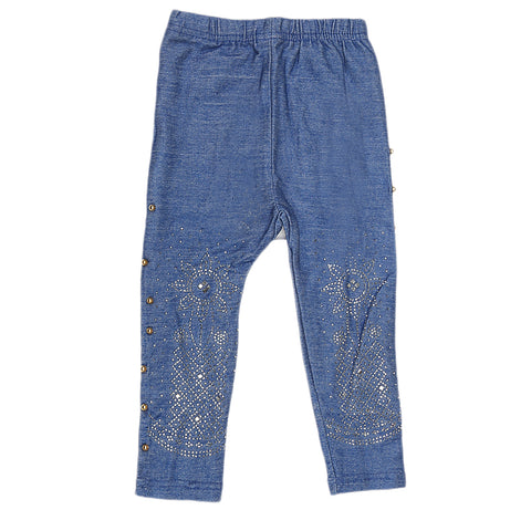 Girls Denim Stone Tight - Light Blue