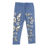 Girls Denim Print Tight - Light Blue